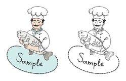 Chef mit Fischlogoschablone Stockfoto