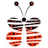 Vector Illustration des dekorativen blauen und roten Schmetterlinges auf dem weißen Hintergrund Stockfotografie