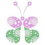 Vector Illustration des dekorativen dekorativen grünen und rosa Schmetterlinges, der auf dem weißen Hintergrund lokalisiert wird Stockfotos