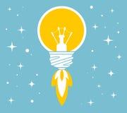 Vector Illustration des Fliegens der gelben Glühlampe auf Blau Stockfoto