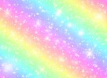 Vector Illustration des Galaxiephantasiehintergrundes und der Pastellfarbe Das Einhorn im Pastellhimmel mit Regenbogen