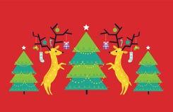 Vector Illustration des geometrischen und flachen Rens und der Weihnachtsbäume gegen roten Hintergrund vektor abbildung