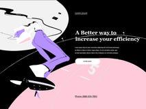 Vector Illustration des Geschäftsfrau-Charakterbetriebs und der erfolgreichen Überfahrt eine Ziellinie Vektor-Konzept für lizenzfreie abbildung
