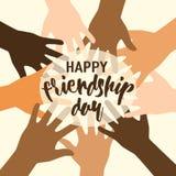 Vector Illustration des glücklichen Freundschaftstagesglückwunschs in der flachen einfachen Art mit Beschriftungstextzeichen und  Lizenzfreies Stockfoto