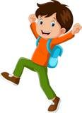 Vector Illustration des glücklichen Jungen mit dem Rucksack, der zur Schule geht lizenzfreie abbildung