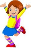 Vector Illustration des glücklichen Mädchens mit dem Rucksack, der zur Schule geht vektor abbildung