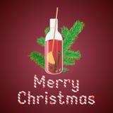 Vector Illustration des Glühweins in einer Flasche mit Weihnachten GR Lizenzfreie Stockfotos