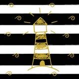 Vector Illustration des goldenen Leuchtturms auf dem Hintergrund mit schwarzen Streifen Hand gezeichnete Vektorkunst Lizenzfreies Stockbild