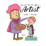 Vector Illustration des großen Künstlers der Karikatur mit einer Palette und und Jungemaler lizenzfreie abbildung