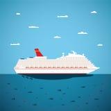 Vector Illustration des großen Seekreuzfahrtschiffs in der modernen flachen Art Stockfoto