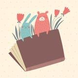 Vector Illustration des Häschens und tragen Sie vom Buch Stockfoto