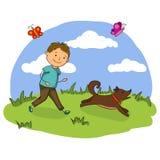 Vector Illustration des hübschen kleinen Jungen, der mit seinem Hund im Park spielt Stockfotos