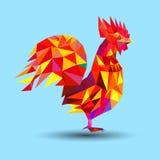 Vector Illustration des Hahns, Symbol von 2017 Schattenbild des roten Hahnes n Bild 2017-jährigen O Stockfoto