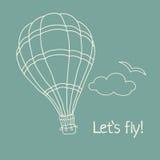 Vector Illustration des Hand gezeichneten Heißluftballons Stockfotografie