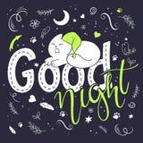 Vector Illustration des Handbeschriftungstextes - gute Nacht Lizenzfreies Stockfoto