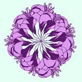 Vector Illustration des hellen purpurroten Lilienblumenkreises stockfoto