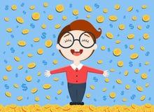 Vector Illustration des jungen Geschäftsmannes, der unter dem Geldregen steht Stockbild
