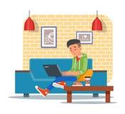 Vector Illustration des Kaffeestubegestaltungselements, Besucher mit Laptop Lizenzfreie Stockfotos