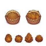 Vector Illustration des Korbes mit den Kiefernkegeln Stockfotografie