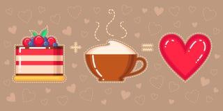 Vector Illustration des Kuchens, der Cappuccinoschale und des roten Herzens Stockbilder