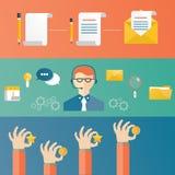 Vector Illustration des Kundendiensts, technische Unterstützungs-conce Lizenzfreie Stockfotos