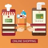 Vector Illustration des on-line-Einkaufens, on-line-Lebensmittellieferung Stockfotos