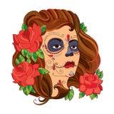 Vector Illustration des Mädchengesichtes mit dem Zuckerschädel oder Make-up Calavera Catrina und der roten Rosen, die auf Weiß lo Lizenzfreie Stockbilder