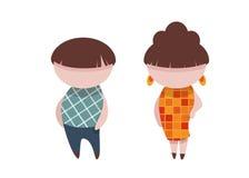 Vector Illustration des Mannes und der Frau im Blitz Stockbilder