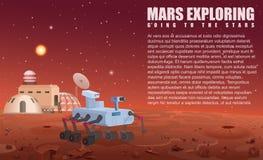 Vector Illustration des Mars-Robotervagabunden und -kolonie in geöffnetem Raum vektor abbildung