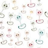 Vector Illustration des mehrfarbigen Entwurfsmusters des netten Kätzchens Lizenzfreie Stockfotos