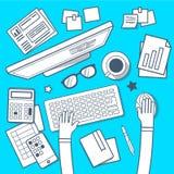 Vector Illustration des modernen kreativen Arbeitsplatzes im Raum auf Blau Lizenzfreie Stockfotografie