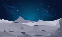 Vector Illustration des Mondlandschaftshintergrundes mit schönem nächtlichem Himmel stock abbildung