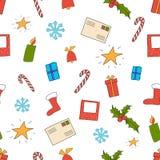 Vector Illustration des nahtlosen Weihnachtsmusters auf Weiß Lizenzfreie Stockfotos