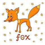 Vector Illustration des netten Fuchses, Spuren von Tieren herum und Wortfuchs Stockfoto