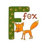 Vector Illustration des netten Fuchses und Buchstaben des Alphabetes F Lizenzfreie Stockfotografie
