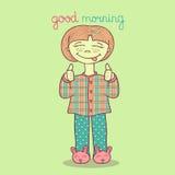 Vector Illustration des netten Mädchens in den Pyjamas, die guten Morgen wünschen Stockfotos