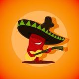 Vector Illustration des netten mexikanischen Paprikapfeffers, der spielt Stockfotos
