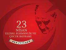 Vector Illustration des nisan cocuk bayrami 23, Übersetzung: Das Türkische-am 23. April nationales Souveränität und Kinder` s Tag Lizenzfreie Stockbilder