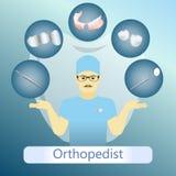 Vector Illustration des Orthopädes mit defferent zahnmedizinischen Instrumenten stockbilder