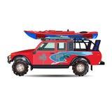 Vector Illustration des Reiseautos und -kajaks auf ihr in der flachen Art Stockfotos