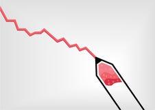 Vector Illustration des roten Stiftes oder der Bleistift-Zeichnung eine abfallende negative Wachstumskurve Stockbild