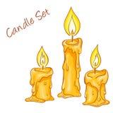 Vector Illustration des Satzes mit lokalisierten gezeichneten geschmolzenen Kerzen der Karikatur Hand Stockfoto