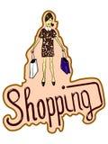 Vector Illustration des schönen Mädchens mit Einkaufstaschen und Herzen Übergeben Sie gezogene flache Linie Kunstartmädchen ohne  Lizenzfreies Stockbild