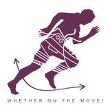 Vector Illustration des Schattenbildes eines Athleten und der Turnschuhe Stockbild