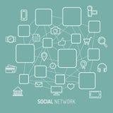 Vector Illustration des Sozialen Netzes, des Internetanschlusses, der Social Media-Ikonen und der Plätze für Mannikonen in der fl Stockfoto
