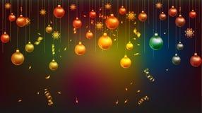 Vector Illustration des Tapetengoldes des guten Rutsch ins Neue Jahr 2019 und des schwarzen Farbplatzes für Textweihnachtsbälle stock abbildung