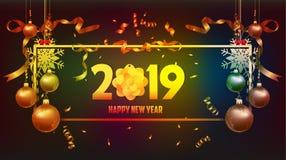 Vector Illustration des Tapetengoldes des guten Rutsch ins Neue Jahr 2019 und des schwarzen Farbplatzes für Textweihnachtsbälle vektor abbildung