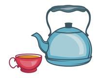 Vector Illustration des Teekessels, Hand gezeichnete Teekanne auf weißem Hintergrund, Teekessellogo vektor abbildung