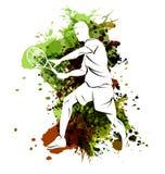 Vector Illustration des Tennisspielers auf Aquarellhintergrund lizenzfreie abbildung