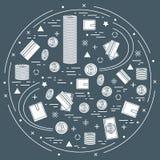 Vector Illustration des unterschiedlichen Geldes, der Investition und des Finanz Stockfotos